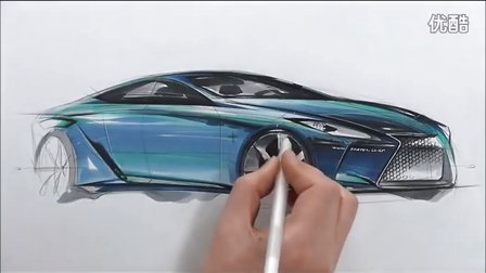雷克萨斯汽车设计马克笔手绘视频教程2