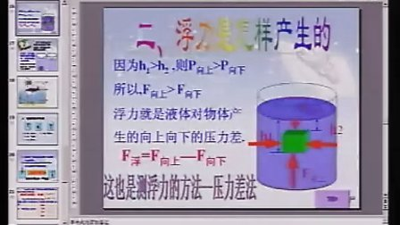认识浮力教科版八年级初中物理优质课课堂实录录像课视频