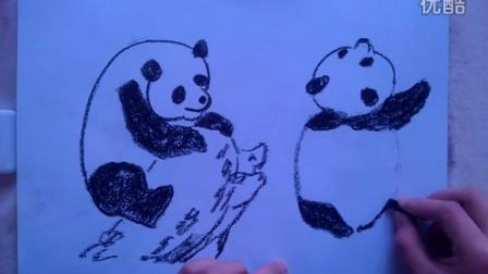 """儿童画画熊猫粉笔画""""根""""李老师学画画"""