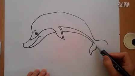 卡通画各种姿势的海豚根李老师学画画