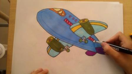 儿童画画飞机根李老师学画画