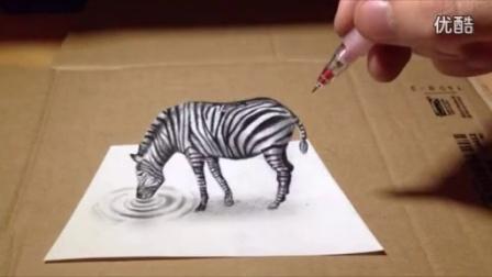 手绘一只在喝水的斑马3D画_高清