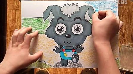 小灰灰很可爱儿童卡通画跟李老师学画画