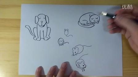 狗、老鼠、猫的画法简笔画跟李老师学画画