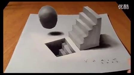 手绘3D楼梯 变形幻觉 _标清