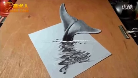 3D绘画 How I Draw a 3D Blue Whale_标清