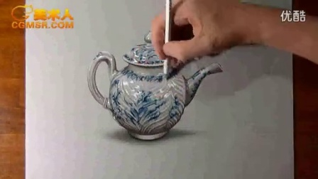 3D绘画How I draw a porcelain teapot_标清