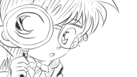 儿童绘画日本动画片《名侦探柯南》中的柯南卡通动漫简笔画教程