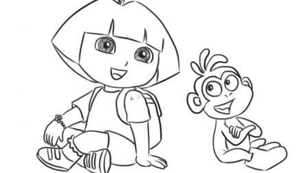 [小林简笔画]绘画动画片爱探险的朵拉中的朵拉与猴子卡通形象简笔画教程