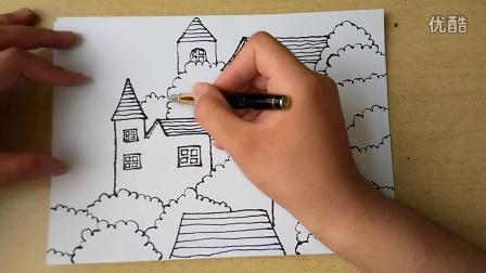 儿童画树林里的房子跟李老师学画画
