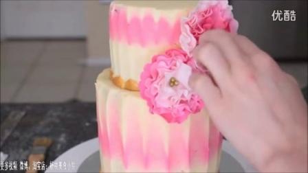 皱褶裱花蛋糕 韩式裱花教程 豆沙翻糖 多肉蛋糕奶油霜教程