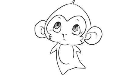 [小林简笔画]教小朋友如何绘画十二生肖中可爱的小猴子卡通儿童幼儿简笔画教程