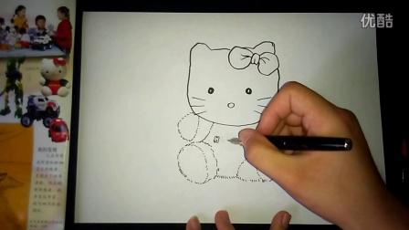 毛绒玩具HELLO cat画玩具如何画人美版四上跟李老师学画画.mp4