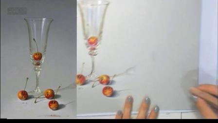 【艺达】超写实的酒杯与樱桃