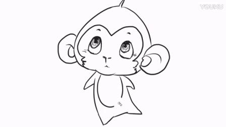 [小林画的]十二生肖中的可爱小猴子儿童卡通动漫简笔画