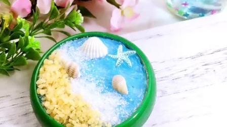 海洋之心蛋糕,白糖为浪花生碎为沙滩,蓝色的手工送你一份清凉