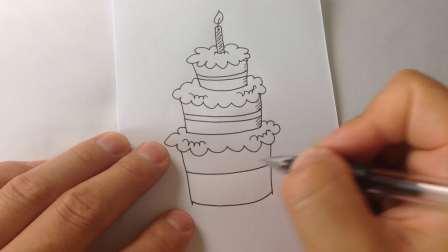 生日蛋糕-简笔画各种蛋糕的画法18