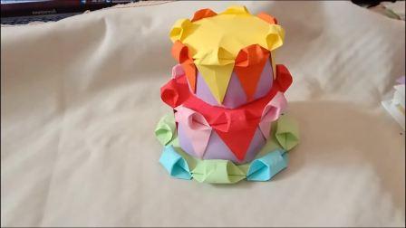 趣味折纸双层生日蛋糕 儿童互动折纸游戏 培养动手能力 智力开发
