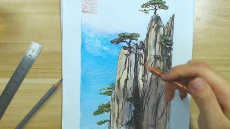 手绘马克笔风景---巅峰高山