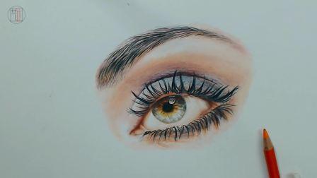 彩铅画超写实眼睛的画法