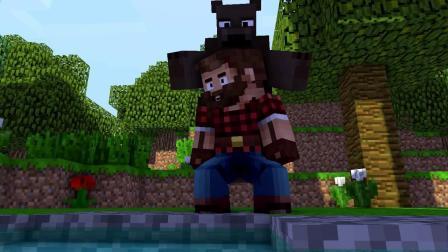 我的世界动画-钓鱼碰到熊