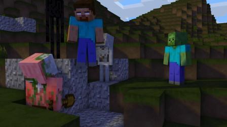 我的世界动画-Herobrine和巴迪在口袋版-LazyMiner