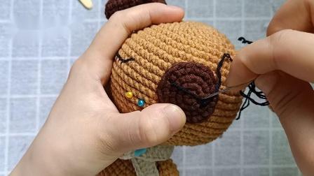 雨宝妈手作第9集大头玩偶之-小狗编织教程怎样编织织法图解