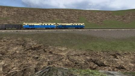 TS2018模拟双机DF4C牵引敞车大列爬展线第一层