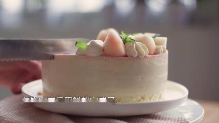 粉嫩的水蜜桃慕斯蛋糕,少女心的你必学!口感清新!
