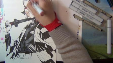 「默默手绘」灶门炭治郎--马克笔手绘