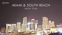 佛罗里达州迈阿密市区和南部海滩的汽车跟拍夜景