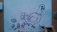 儿童画母鸡与小鸡根李老师学画画