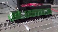 机车模型在自制的N比例火车模型跑步机上的运行视频