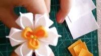 和风细工花簪 水仙花布花的制作diy小教程