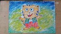 大脸猫儿童画卡通画色粉画教学微课跟李老师学画画1