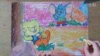 大脸猫和蓝皮鼠卡通画儿童色粉画微课跟李老师学画画1