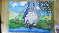 龙猫卡通色粉画跟李老师学画画