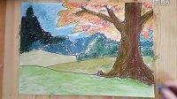 儿童色粉风景画跟1李老师学画画