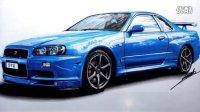 手绘-日产Skyline GTR R34   Nissan Skyline GTR R34 Speed Drawing by Roman Miah