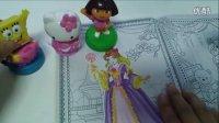 朵拉与 海绵宝宝  凯蒂猫  白雪公主换装贴纸画