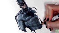 【极酷花园】牛人画『蝙蝠侠』的全过程【神笔肖像画】
