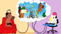 【小熙&屌德斯】超级鸡马 鸡和马玩地狱摩天轮大菊花转转转有点恐怖!