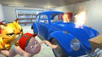 【屌德斯&小熙】 谁是你爸爸 新版本可以开车油门一踩爆炸了 天上还有小鸟