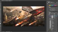 Photoshop第9集教程-PS合成战争中的天空鸟