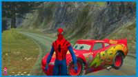 蜘蛛侠山路挑战赛 与风景飙车!美国队长3 钢铁侠 绿巨人 赛车总动员 卡通