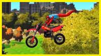 蜘蛛侠的英雄挑战 失控的摩托车赛车!美国队长3 赛车总动员 卡通 动画