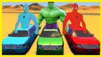 绿巨人加长版赛车挑战 赛车总动员!小猪佩奇 蜘蛛侠 美国队长 卡通动画