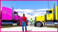 卡车与火车的世纪对抗 蜘蛛侠 绿巨人 美国队长 超人的山地挑战赛#彩虹乐园#