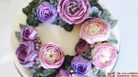 紫色系奶油霜裱花奥斯丁玫瑰蛋糕~惠尔通花嘴演示{Sweet-Lab}