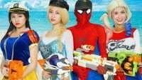 搞笑蜘蛛侠 艾莎公主与小丑的枪战片